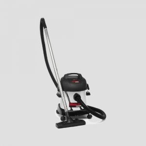 a stainless steel Shop-Vac Commercial HEPA vacuum cleaner on a grey background