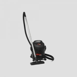 a black plastic Shop-Vac Commercial HEPA wet and dry vacuum cleaner