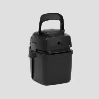 rear view of a black plastic Shop-Vac Micro 4 Handheld vacuum cleaner