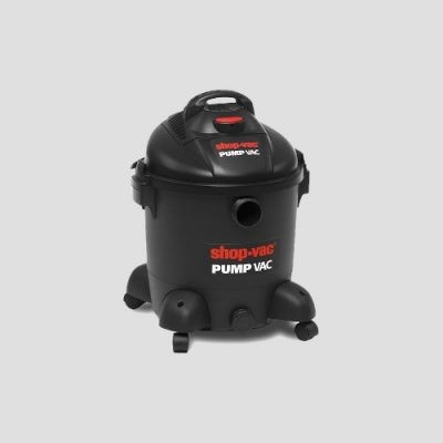 a black plastic Shop-Vac Pump Vac wet and dry vacuum cleaner