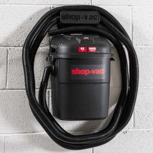 a black plastic wet and dry Shop-Vac Wall Mounted Vacuum cleaner