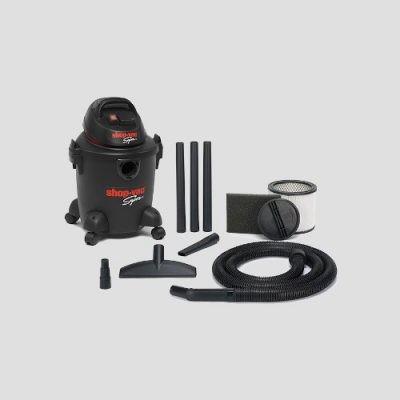 a black plastic Shop-Vac Super 20s vacuum cleaner and accessories
