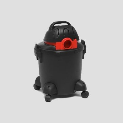 rear view of a black plastic Shop-Vac Super 20s wet and dry vacuum cleaner