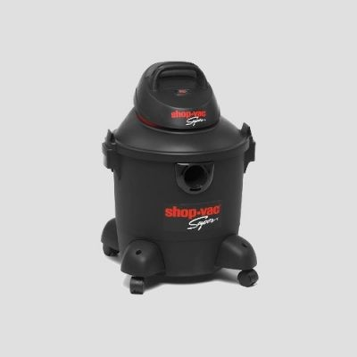 a black plastic Shop-Vac Super 30s wet dry vacuum cleaner on a grey background
