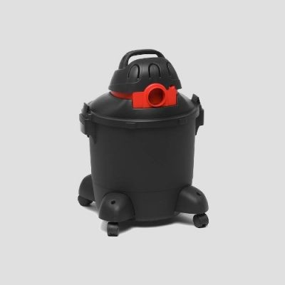 rear view of a a black plastic Shop-Vac Super 30s wet dry vacuum cleaner on a grey background