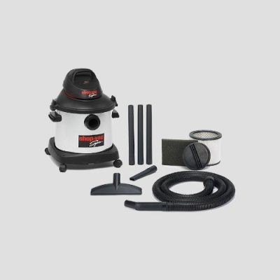 a stainless steel Shop-Vac Super 30i vacuum cleaner and accessories