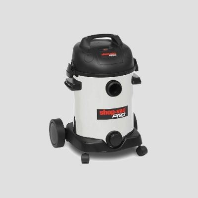 a stainless steel Shop Super Pro25i wet dry vacuum cleaner on a grey background