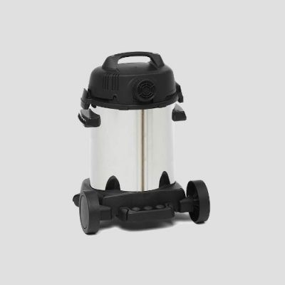 a stainless steel Shop-Vac Super Pro25i wet dry vacuum cleaner on a grey background