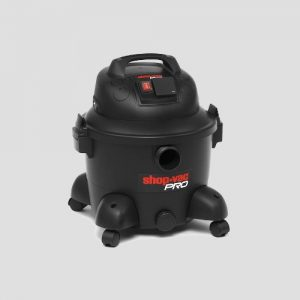 a black plastic Shop-Vac Super Pro25s wet and dry vac on a grey background
