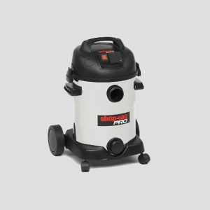 a Shop-Vac Super Pro25si wet and dry vacuum cleaner on a grey background